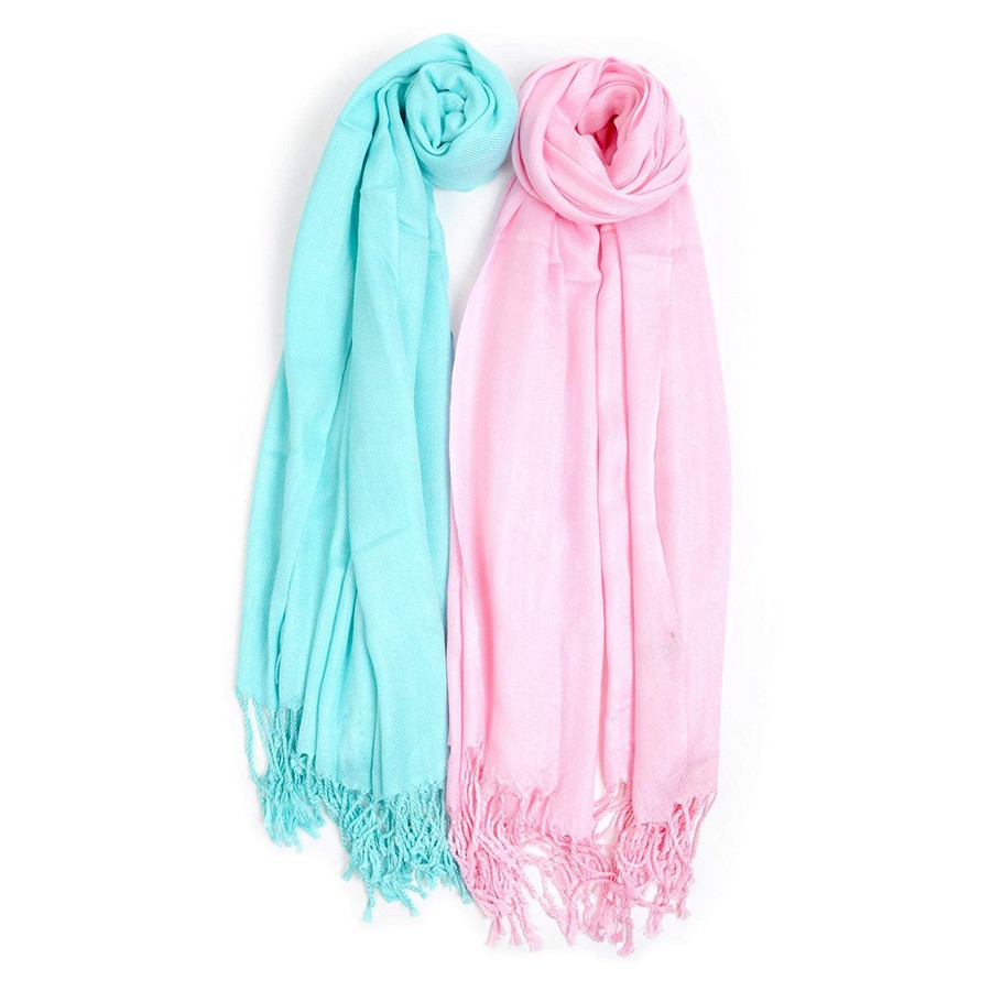 Cotton Candy Inspired Solid Classic Pashmina Scarf Set