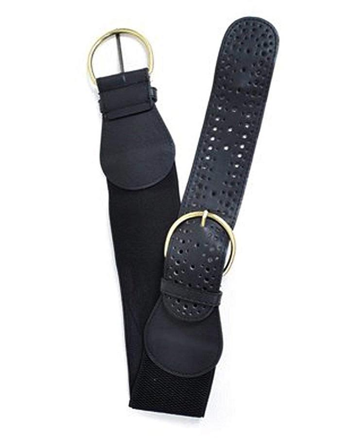 "Double Buckles Elastic Belt, M/L (32""), Black"