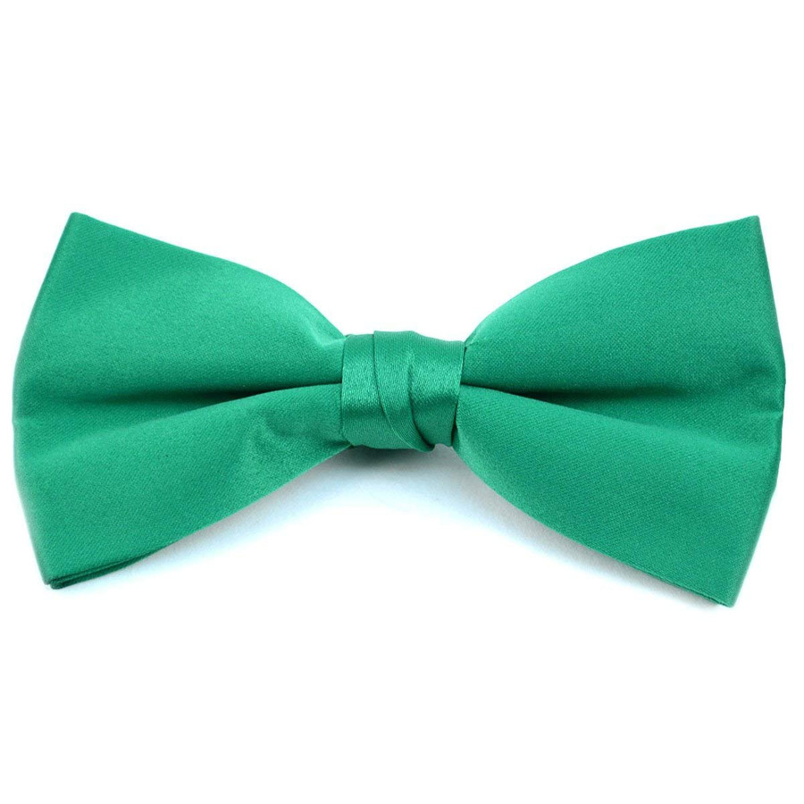 Classic Solid Poly Satin Boy's Clip on Tie-Green