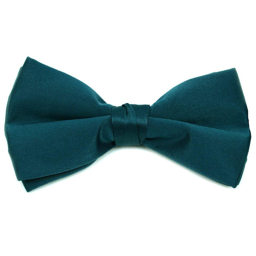 Classic Solid Poly Satin Boy's Clip on Tie-Hunter Green