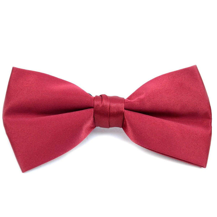 Classic Solid Poly Satin Boy's Clip on Tie-Burgundy