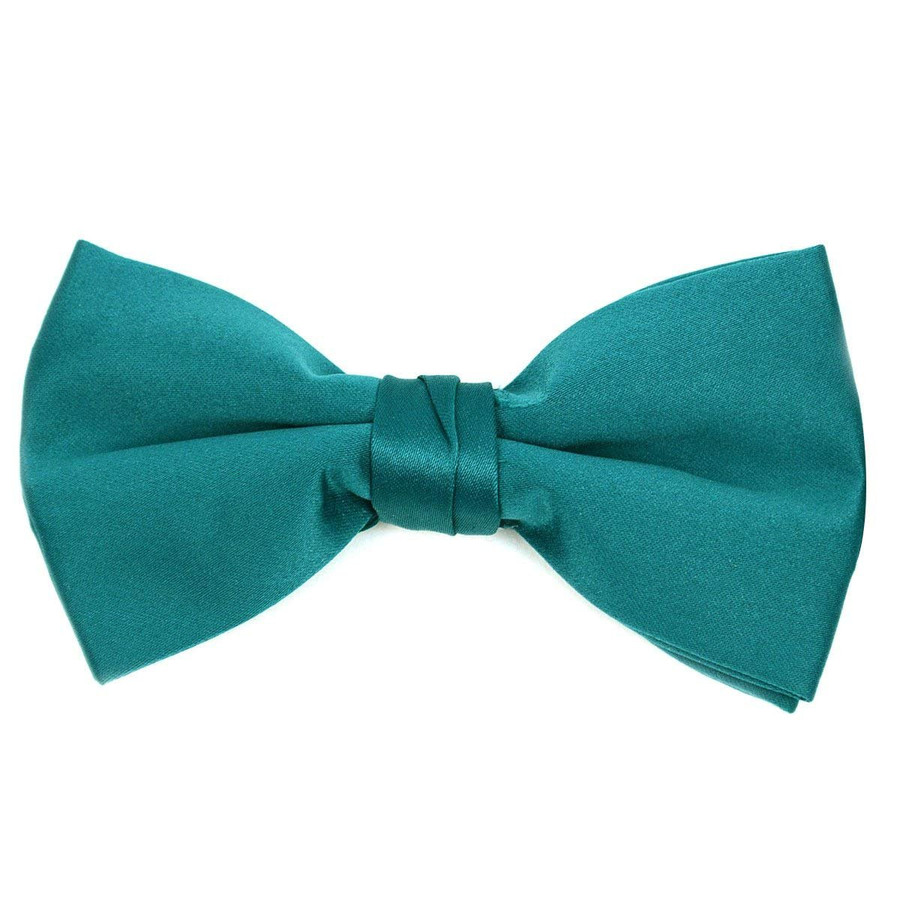 Classic Solid Poly Satin Boy's Clip on Tie-Dark Green
