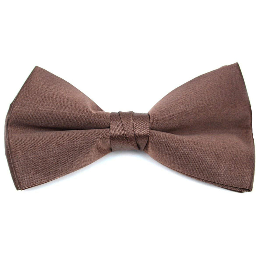 Kids Pre Tied Clip on Bow Tie-Brown
