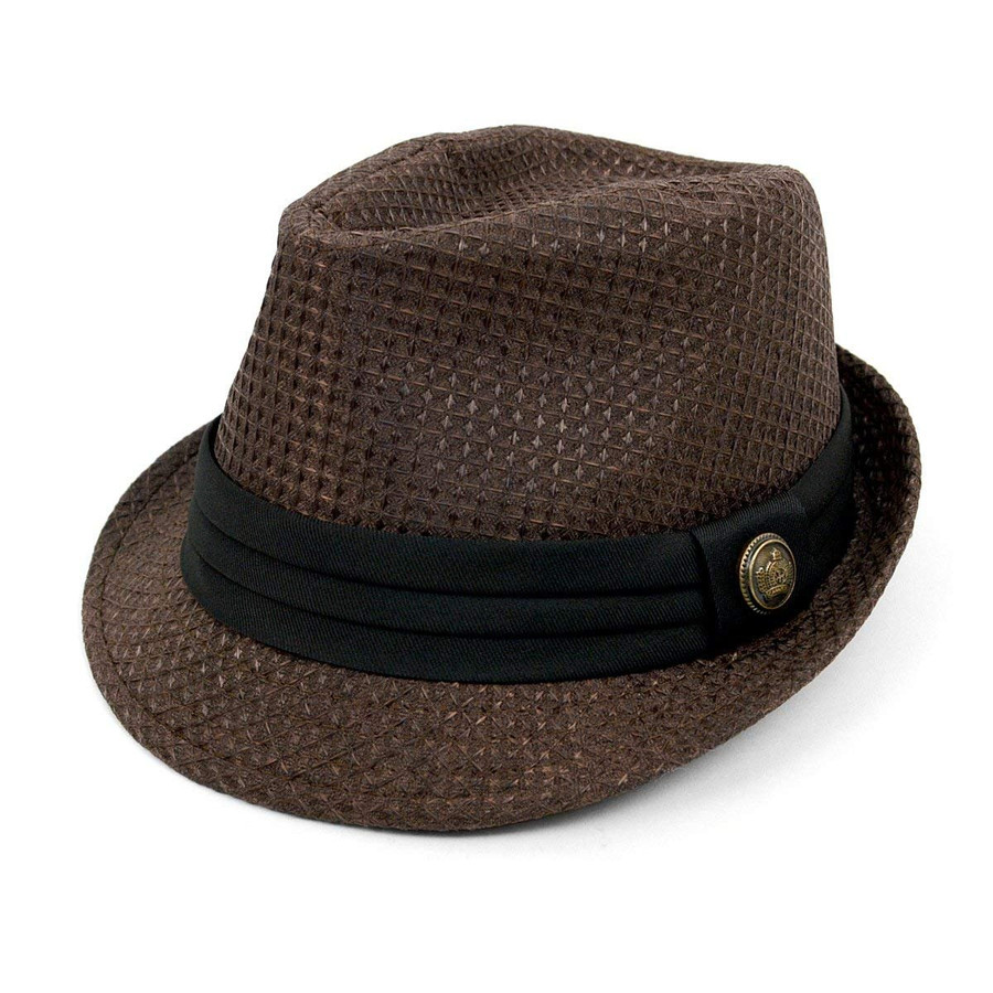 WESTEND Textured Pattern Fashion Fedora with Black Band & Button