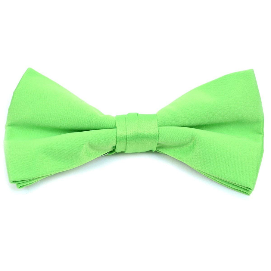 Classic Solid Poly Satin Boy's Clip on Tie-Neon Green