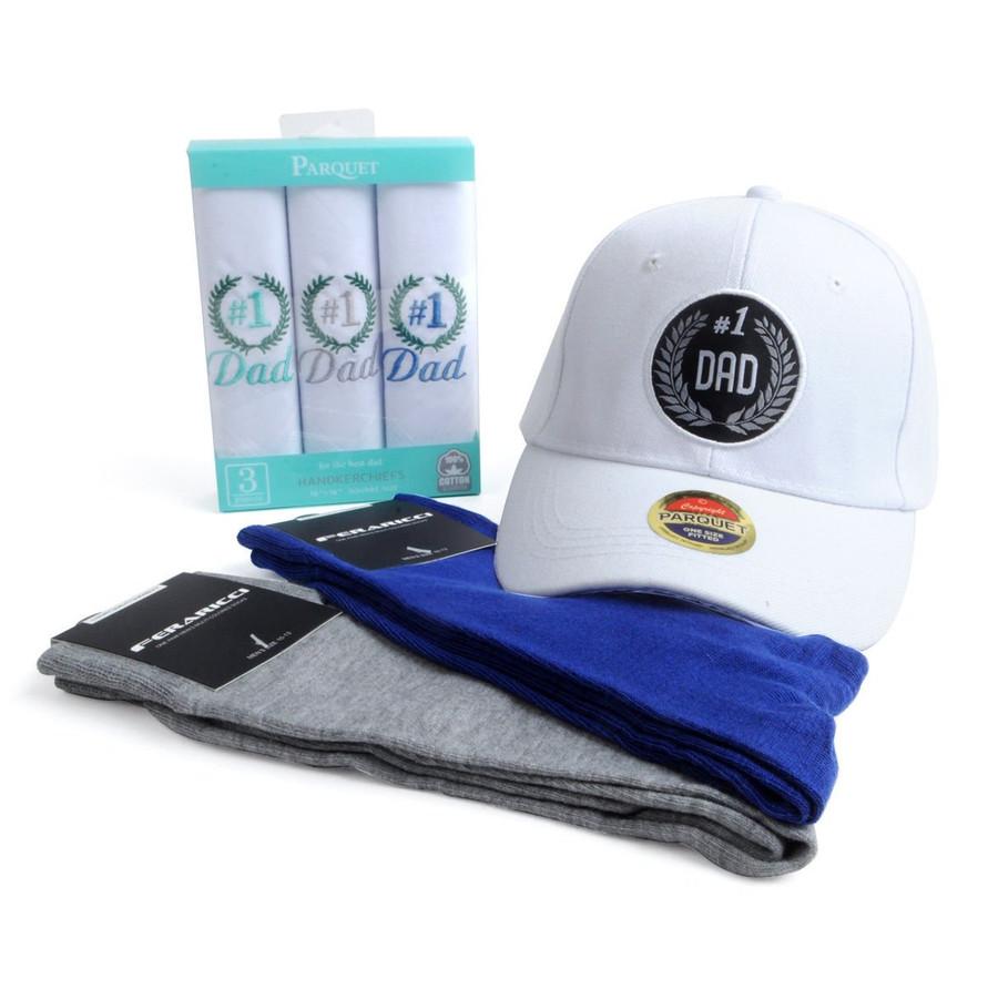 Gift Set # 1 Dad Handkerchiefs, Cap and Socks (FDS1704-1)