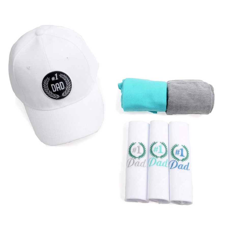 No.1 Dad Combo Gift Set Embroidered White Baseball Cap, 2pc-Set Socks & Hanky