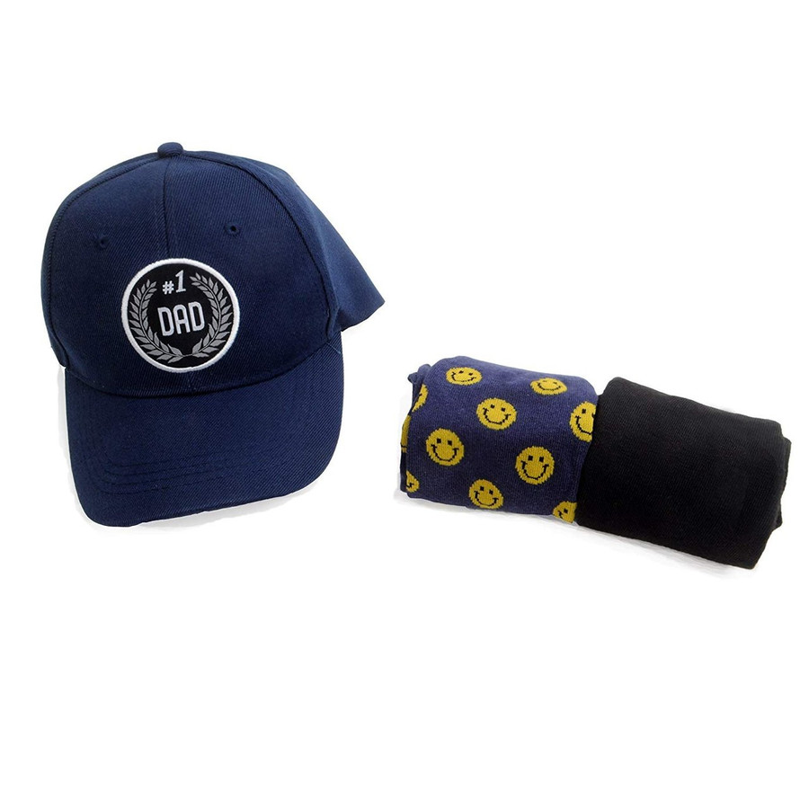 No. 1 Dad Embroidered Blue Baseball Cap, 2pc Set of Solid & Novelty Socks