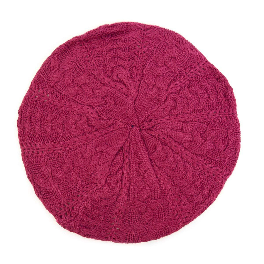 BG Winter Knit Crochet Beret for Women Solid Color Knitted Beanie Hat One Size