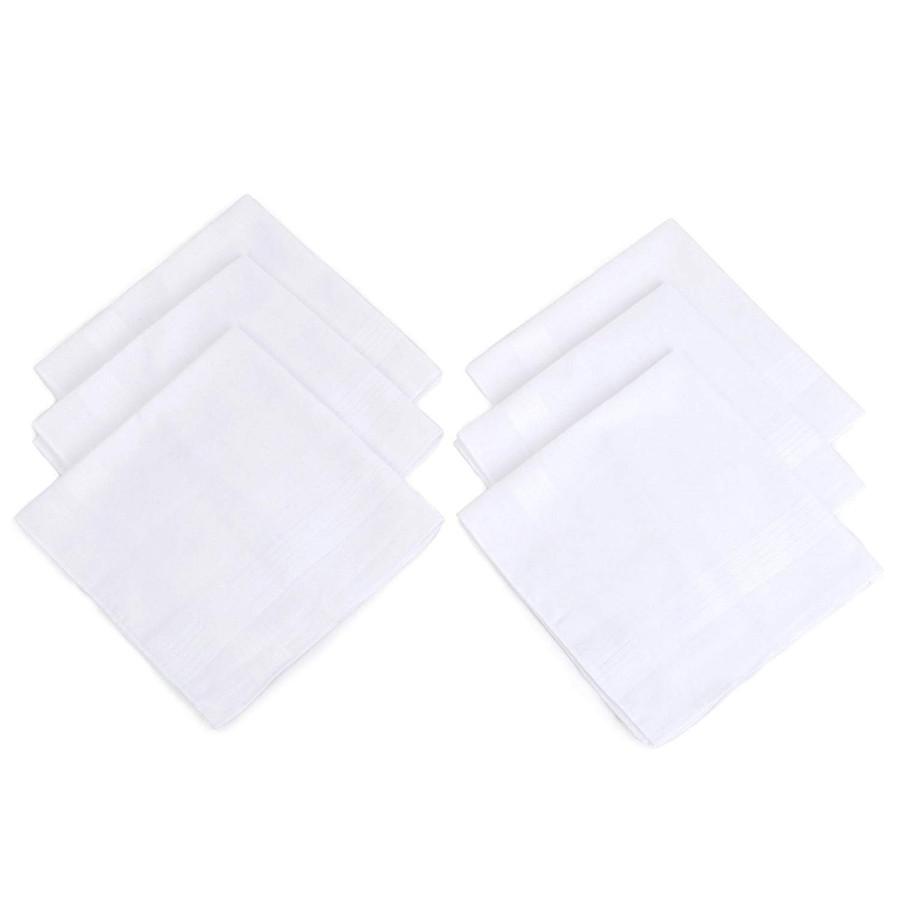 Men's Solid White Cotton Handkerchiefs 6 Pieces