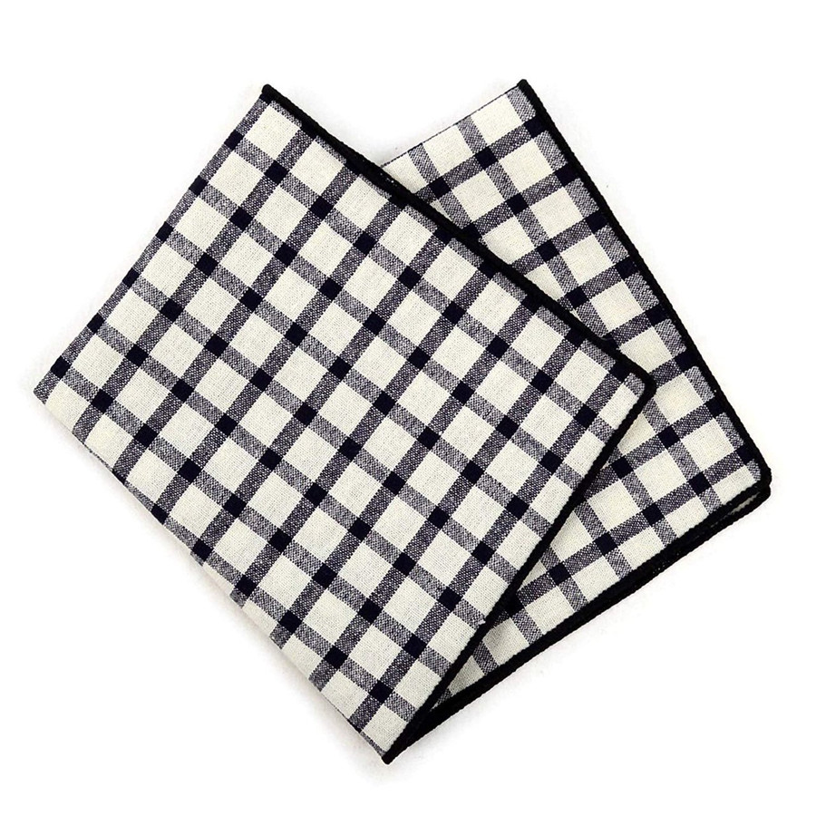 Boxed-Gifts 6pc Men's Black & Beige 100% Cotton Checkered Handkerchief