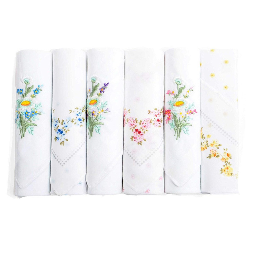 Ladies Fancy Colorful Embroidered Handkerchiefs 6pc set