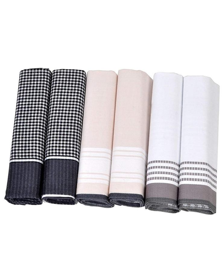 Men's Patterned Cotton Handkerchiefs 6 Pieces