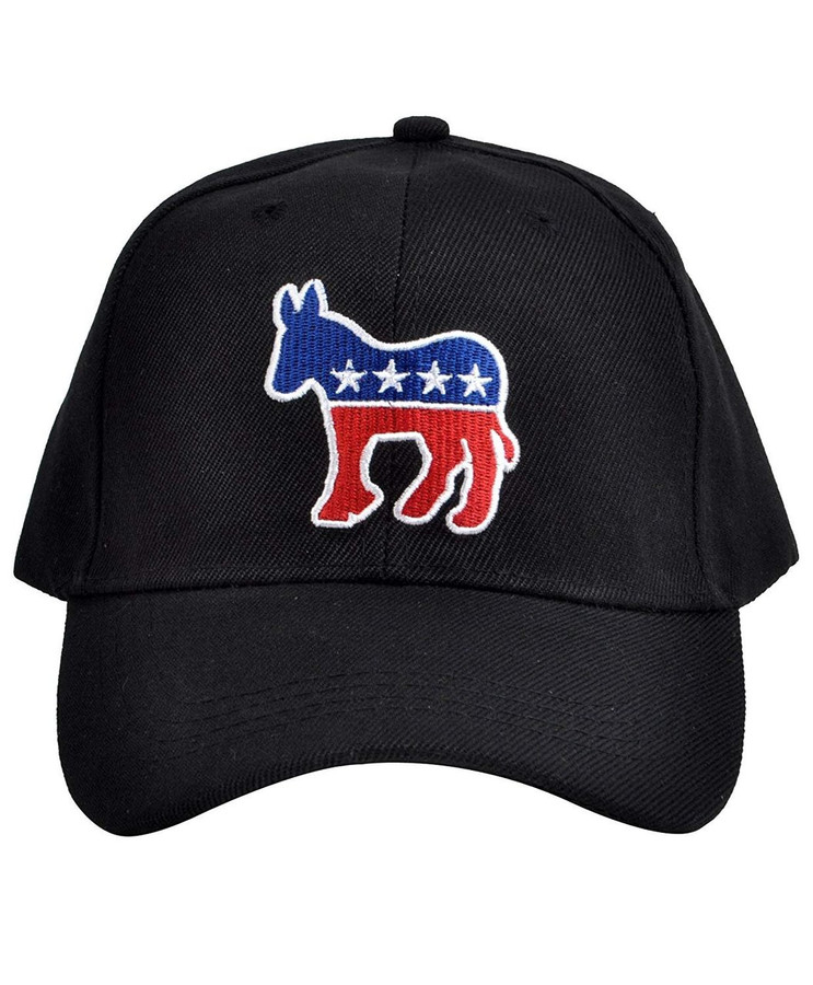 Parquet Mens Black Democrat Donkey Embroidered Adjustable Baseball Hat