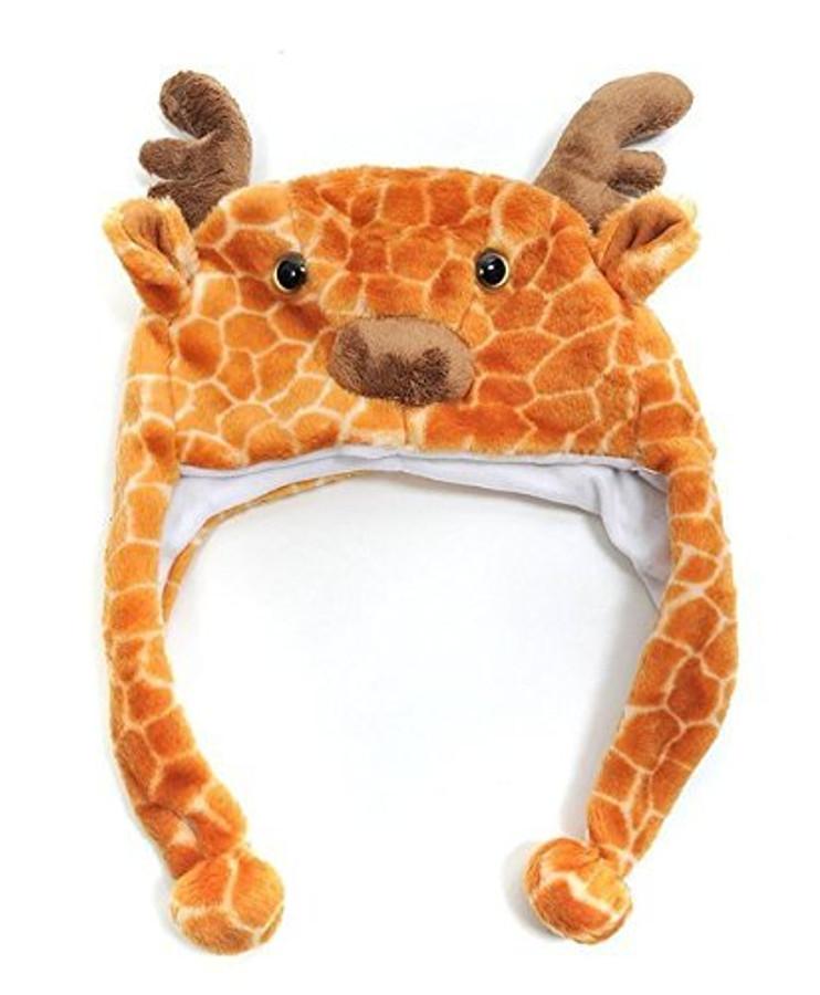 Giraffe Plush Animal Hat with Ear Flaps