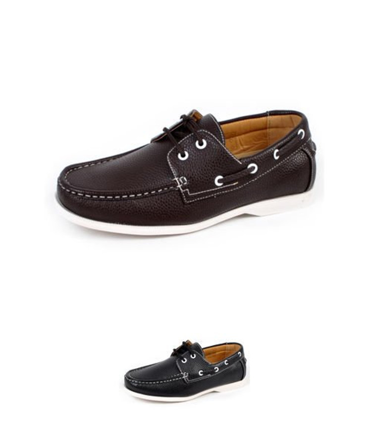Men's Sleek Boat Shoes Black and Brown Fashionable Rounded Toe by Ancora(BGL1003