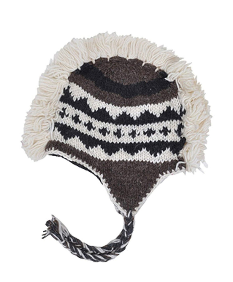 Arctic Mohawk Hand-Knit 100% Wool Winter Hats with Fleece Lining, Design-4