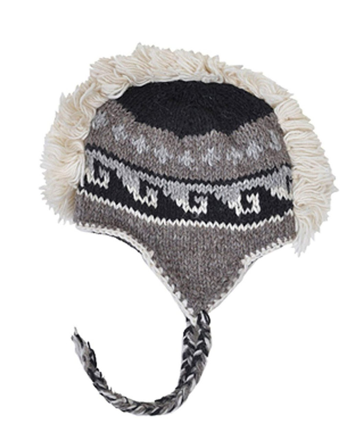 Arctic Mohawk Hand-Knit 100% Wool Winter Hats with Fleece Lining, Design-2