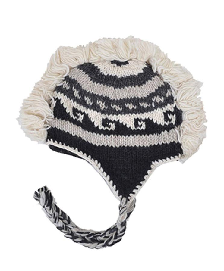 Arctic Mohawk Hand-Knit 100% Wool Winter Hats with Fleece Lining, Design-1
