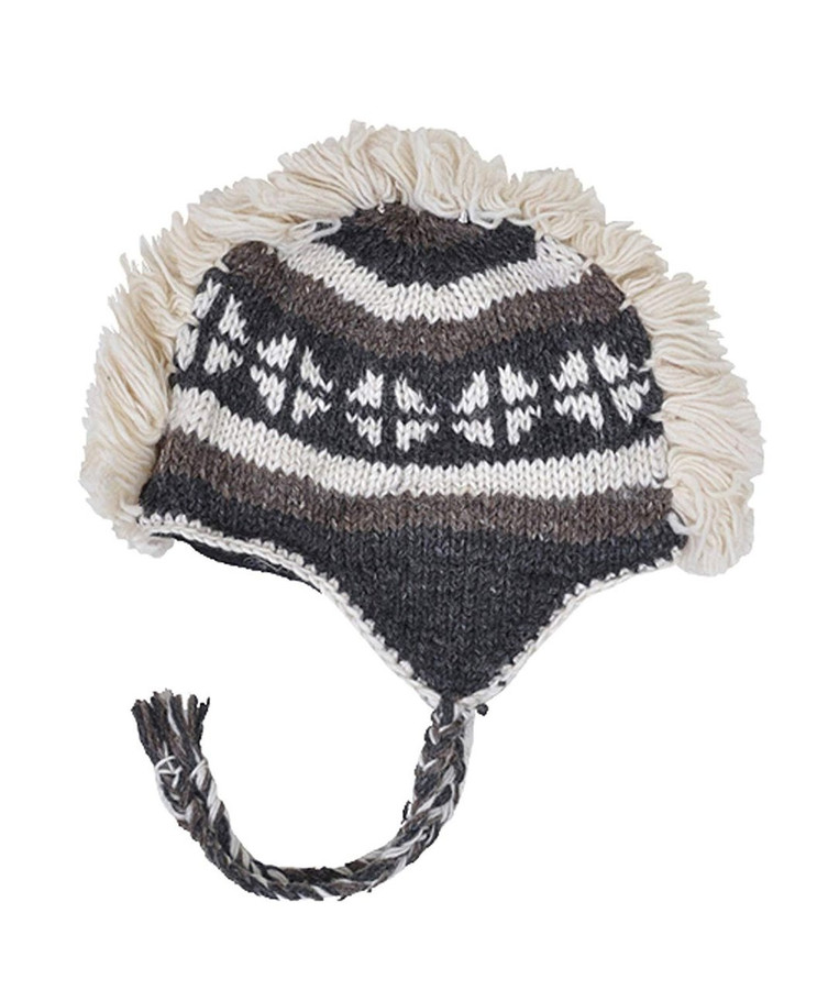 Arctic Mohawk Hand-Knit 100% Wool Winter Hats with Fleece Lining, Design-6