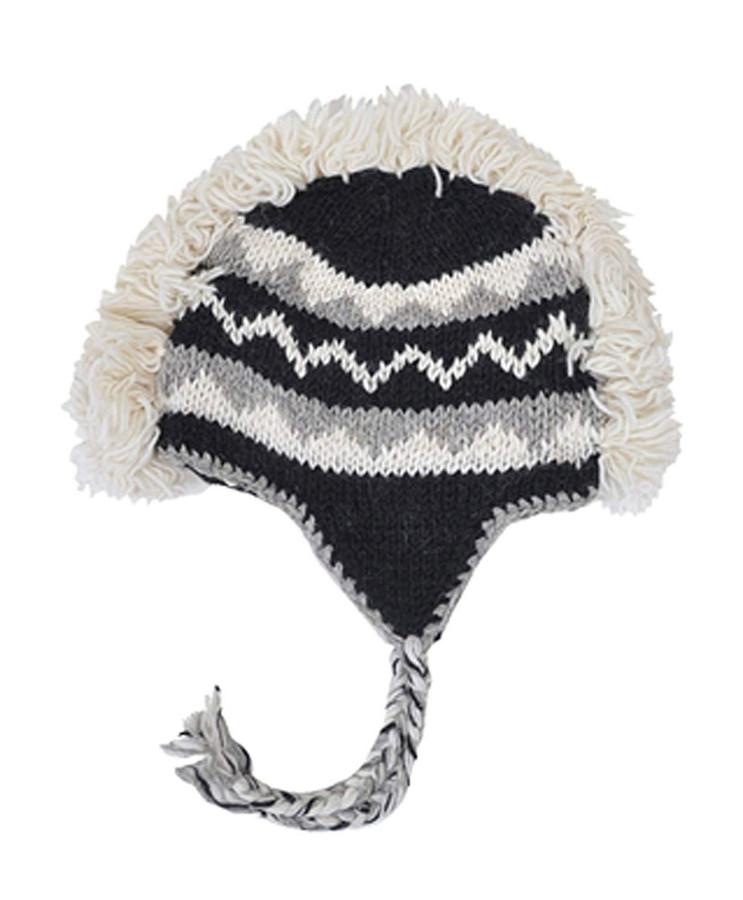 Arctic Mohawk Hand-Knit 100% Wool Winter Hats with Fleece Lining, Design-8