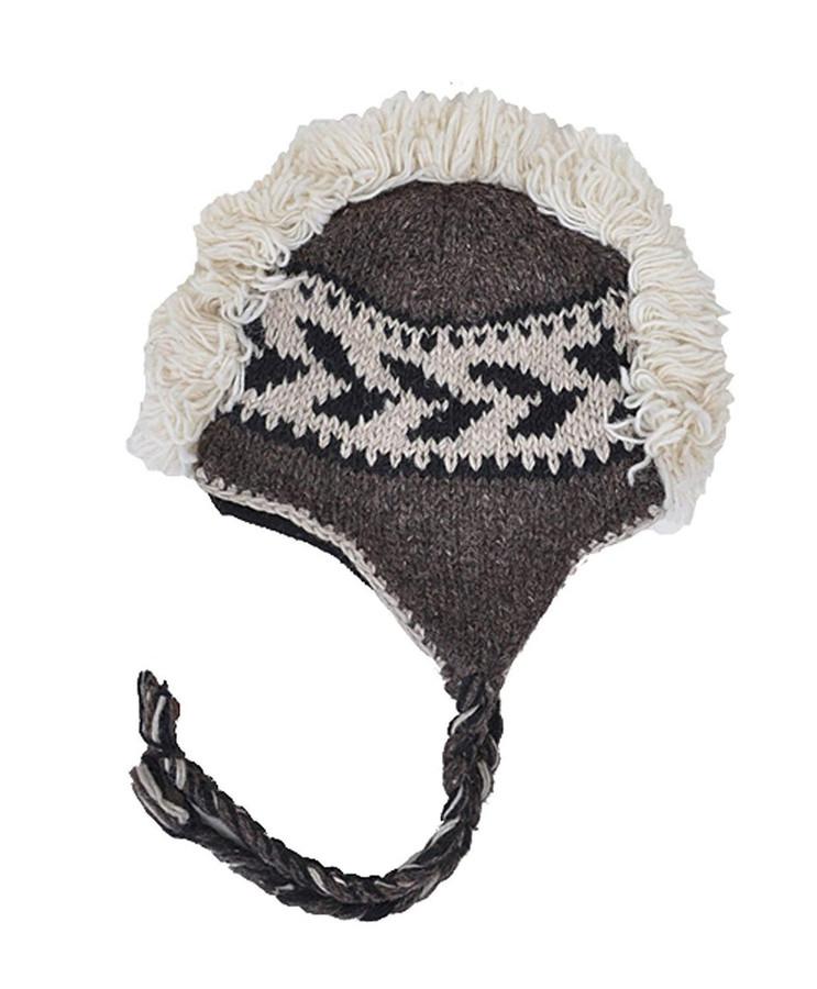 Arctic Mohawk Hand-Knit 100% Wool Winter Hats with Fleece Lining, Design-10