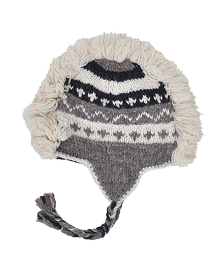 Arctic Mohawk Hand-Knit 100% Wool Winter Hats with Fleece Lining, Design-9