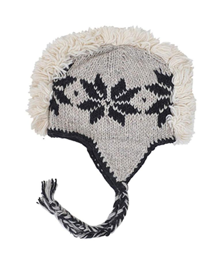 Arctic Mohawk Hand-Knit 100% Wool Winter Hats with Fleece Lining, Design-5