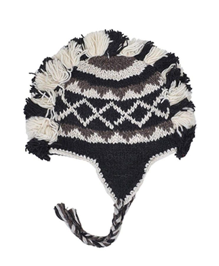 Spotted Mohawk Hand-Knit 100% Wool Winter Hats with Fleece Lining, Design-1