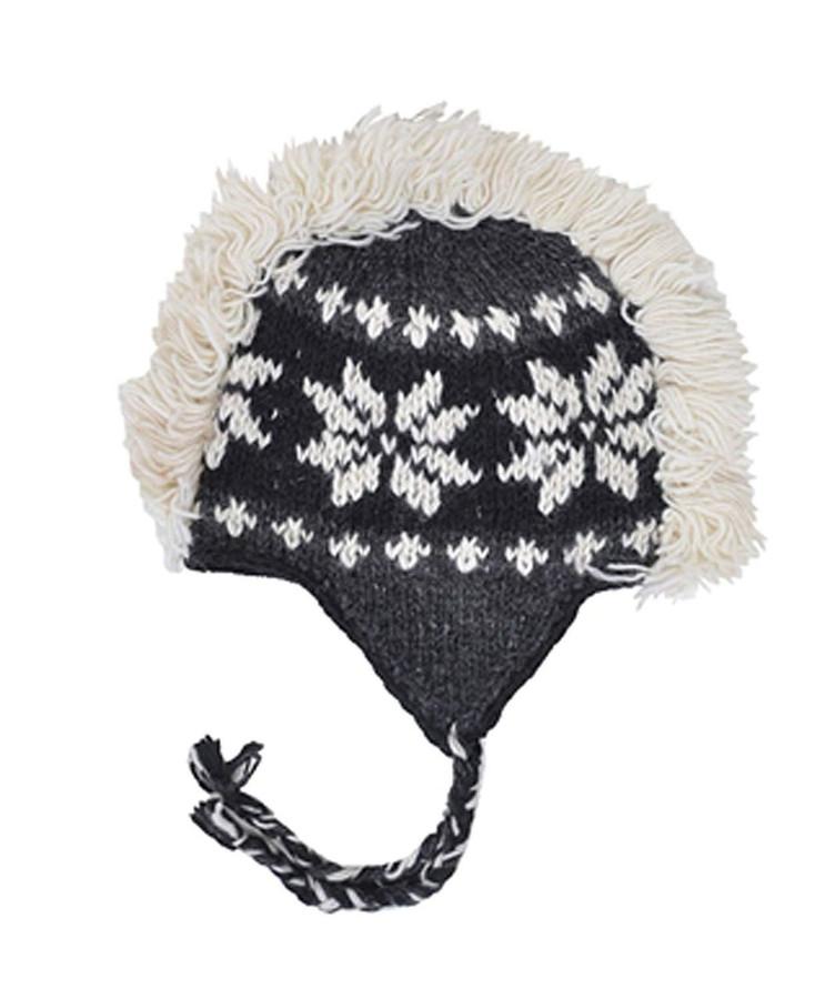 Arctic Mohawk Hand-Knit 100% Wool Winter Hats with Fleece Lining, Design-7