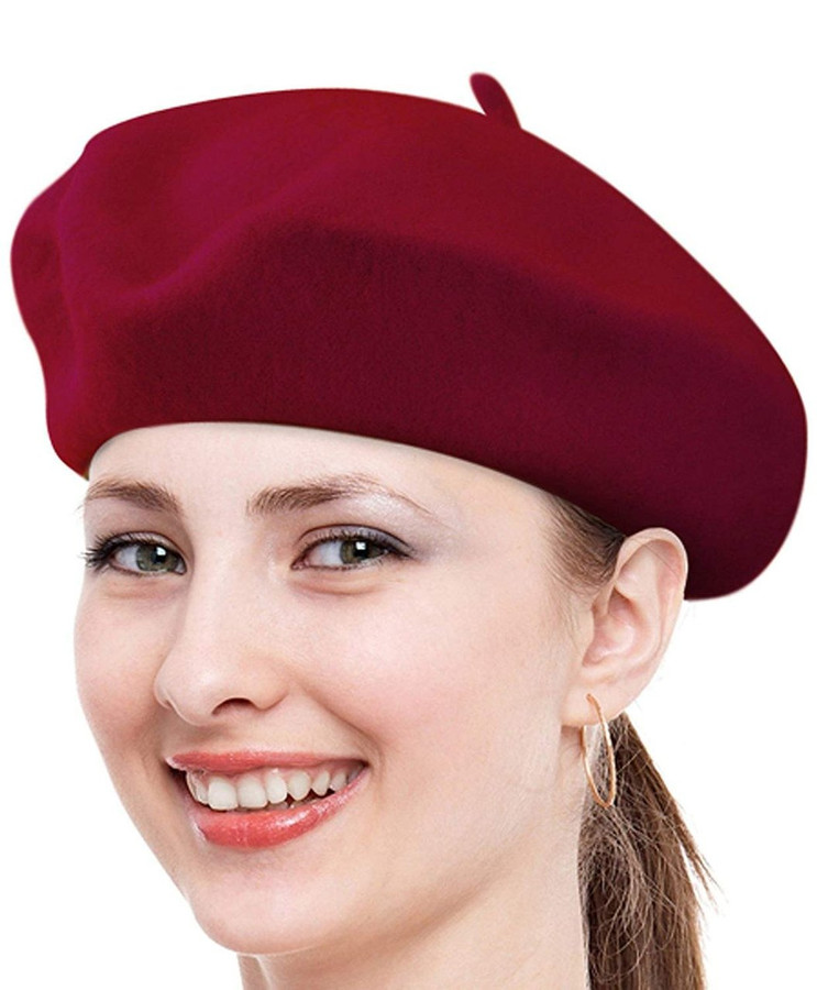 Solid Color French Wool Beret (Burgundy)