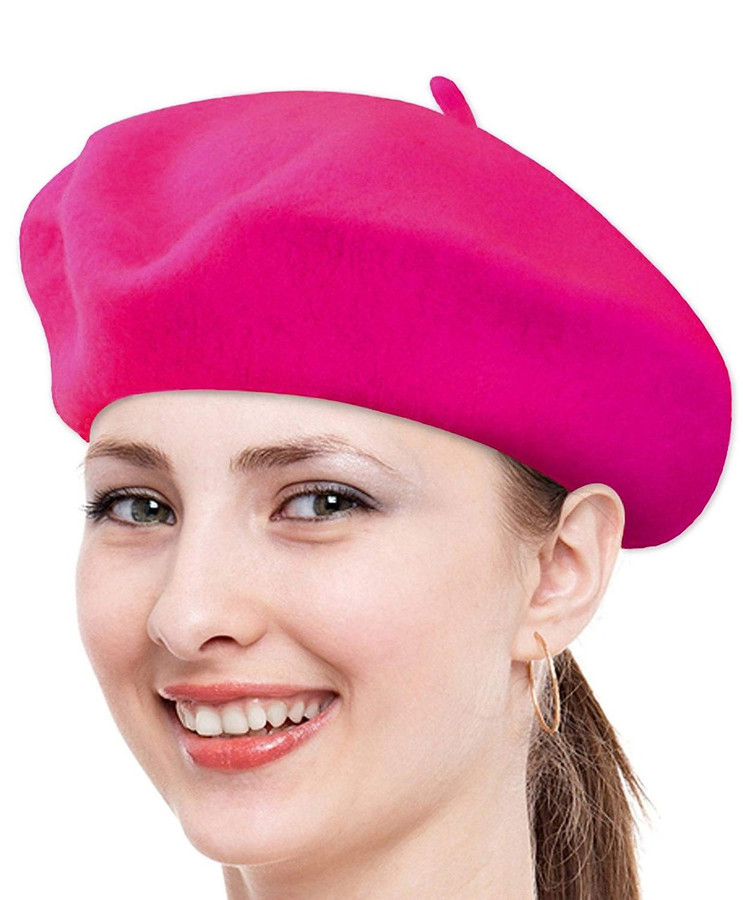 Classic Solid Color Wool French Beret (Fuchsia)