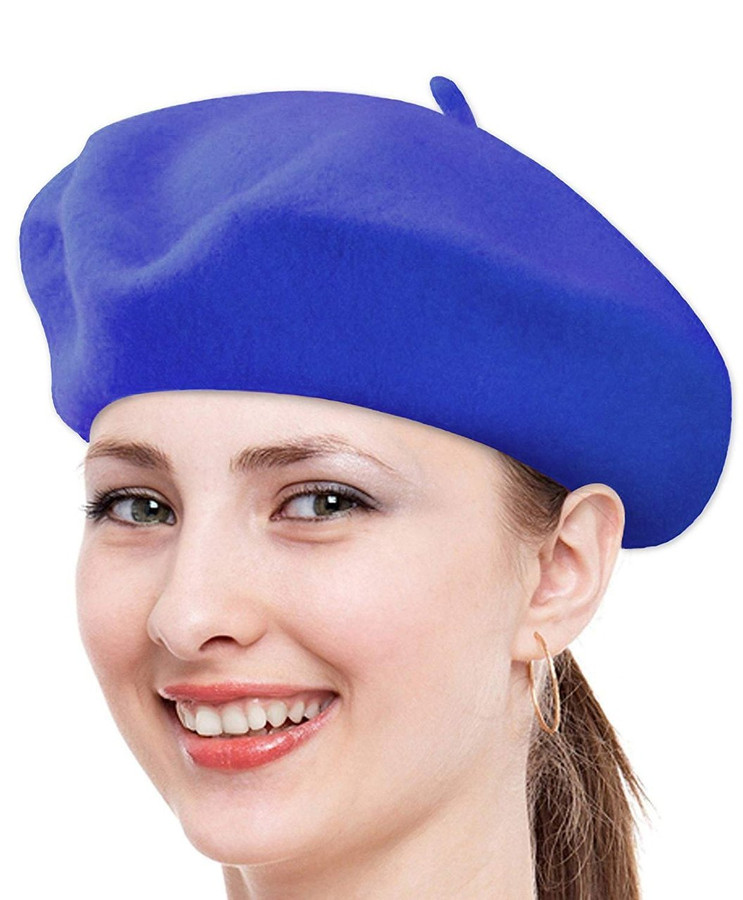 Classic Solid Color Wool French Beret (Royal Blue)