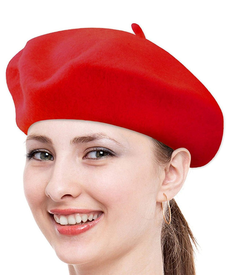 Classic Solid Color Wool French Beret (Red)