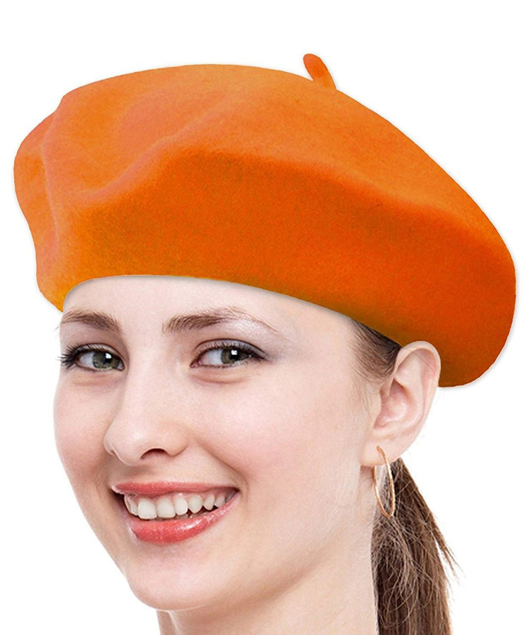Classic Solid Color Wool French Beret (Orange)