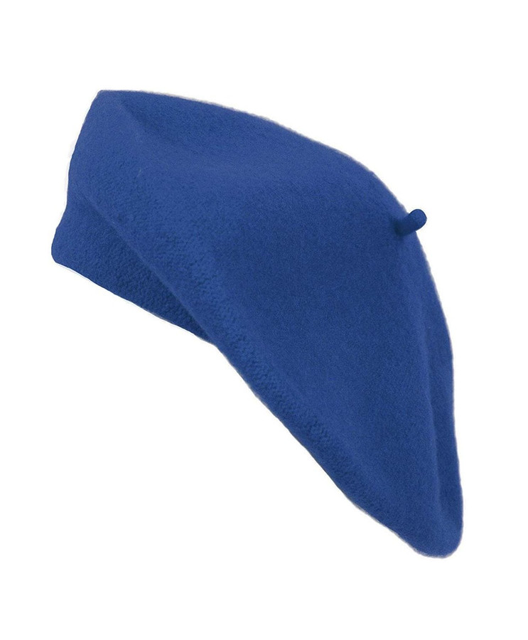 Ladies Solid Colored French Wool Beret (Royal Blue)