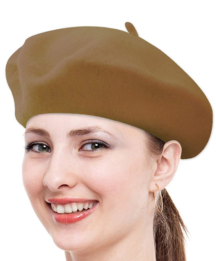 Classic Solid Color Wool French Beret (Brown)