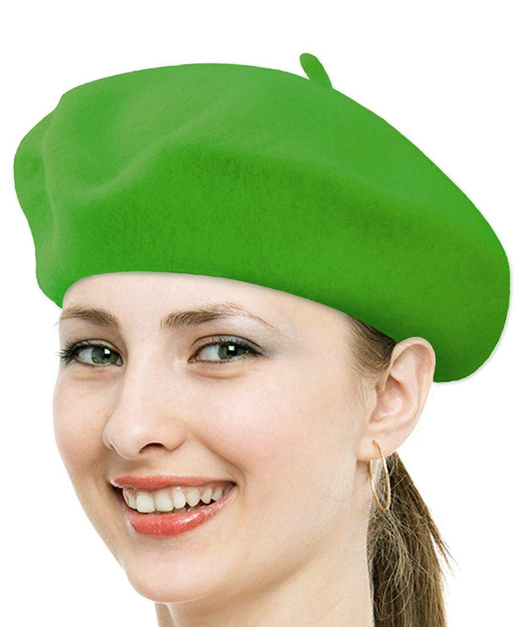 Classic Solid Color Wool French Beret (Green)