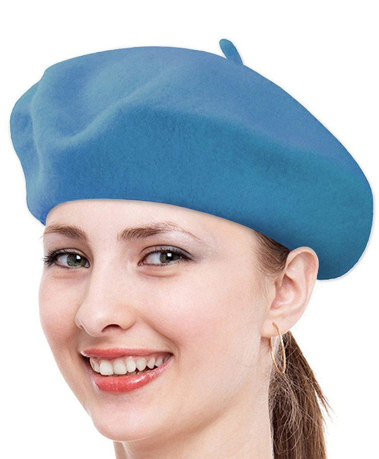 Solid Color French Wool Beret (Navy)