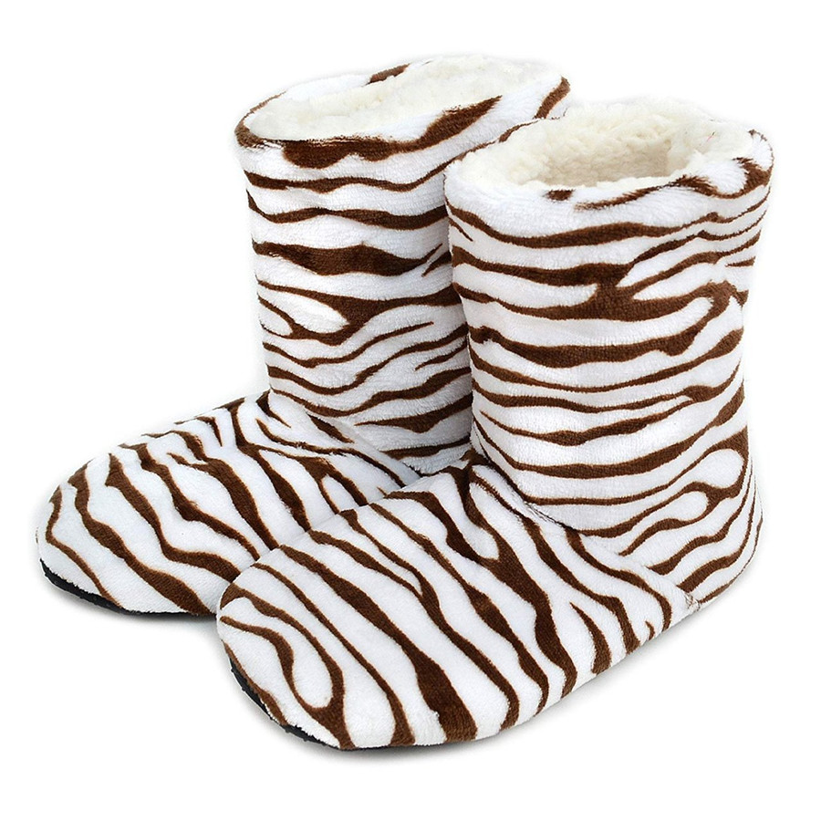 Nollia Women's Zebra Print House Slipper Booties