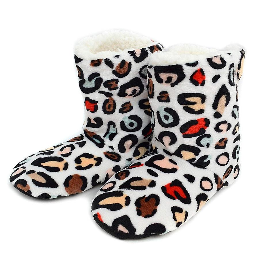 Nollia Women's Rainbow Leopard House Slipper Booties