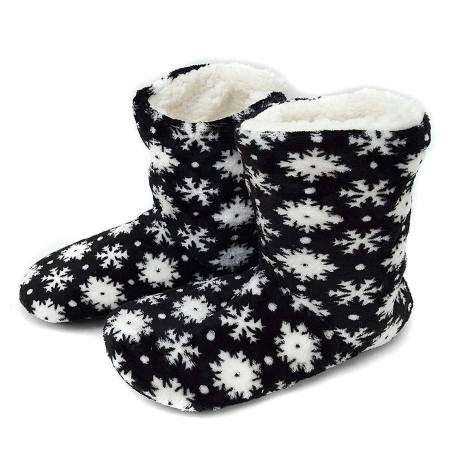 Nollia Women's Snow White Snowflakes House Slipper Booties