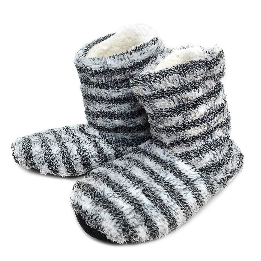 Nollia Women's Cozy Stripes House Slipper Booties