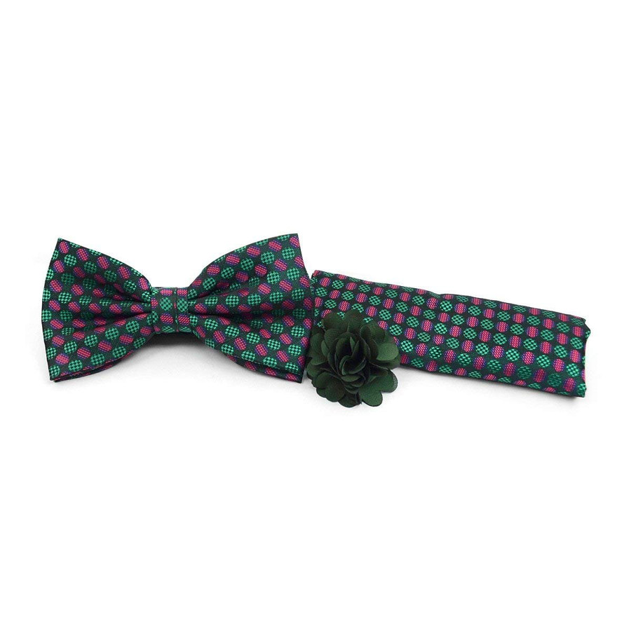 Green & Red Banded Bow Tie, Hanky & Lapel Pin Set