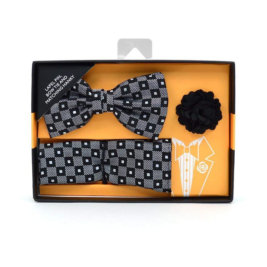 Black & White Geometric Banded Bow Tie, Hanky & Lapel Pin Set