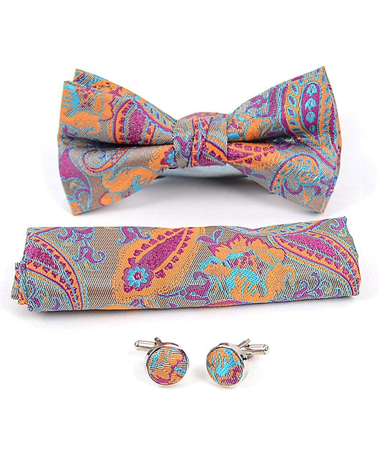 12Pc Assorted Paisley Pattern Banded Bow Tie, Matching Hanky & Cufflinks