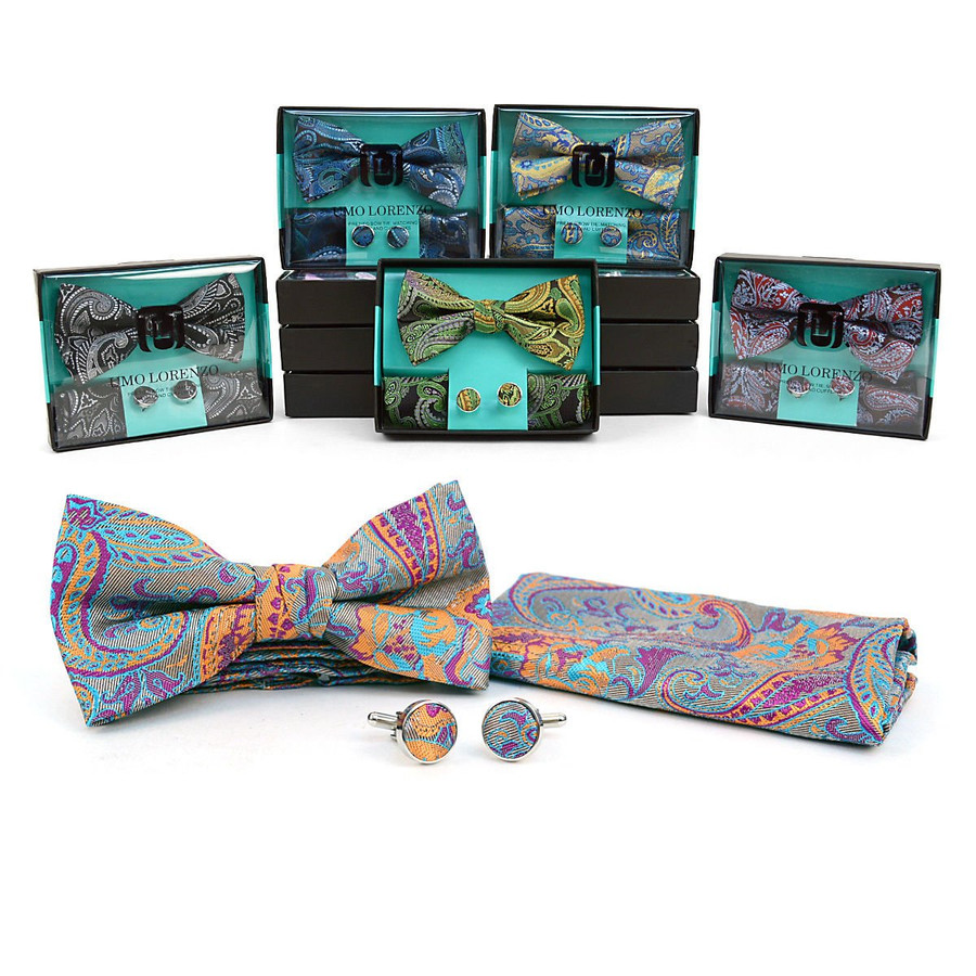 12Pc Paisley Pattern Banded Bow Tie, Matching Hanky & Cufflinks (BTHC3812-1)