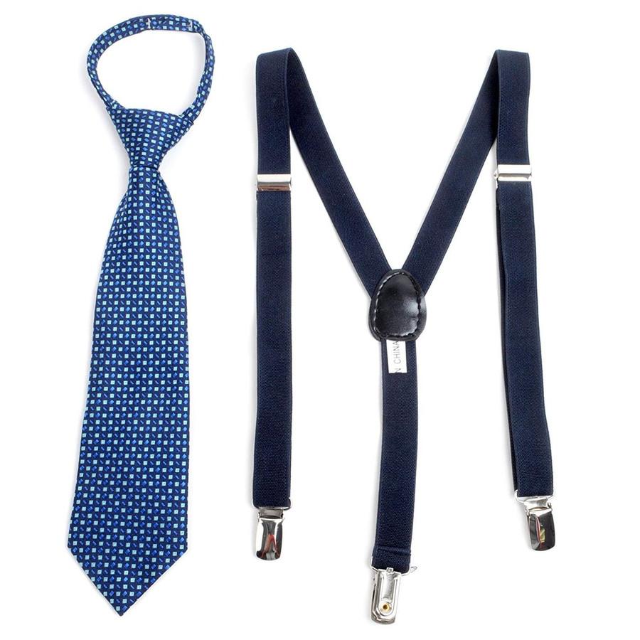 Boy's Matching Zipper Tie and Suspenders Set