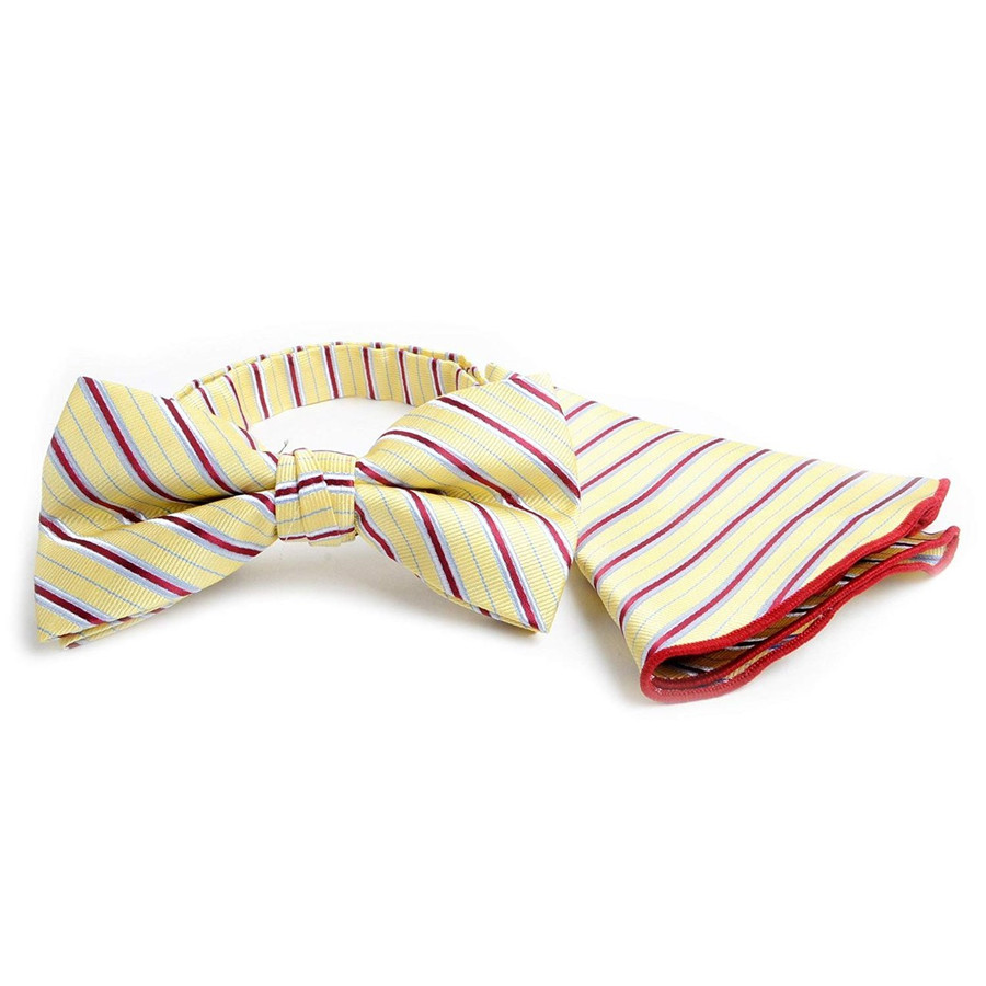 Balanced Stripe Banded Bow Tie & Matching Pocket Round Set