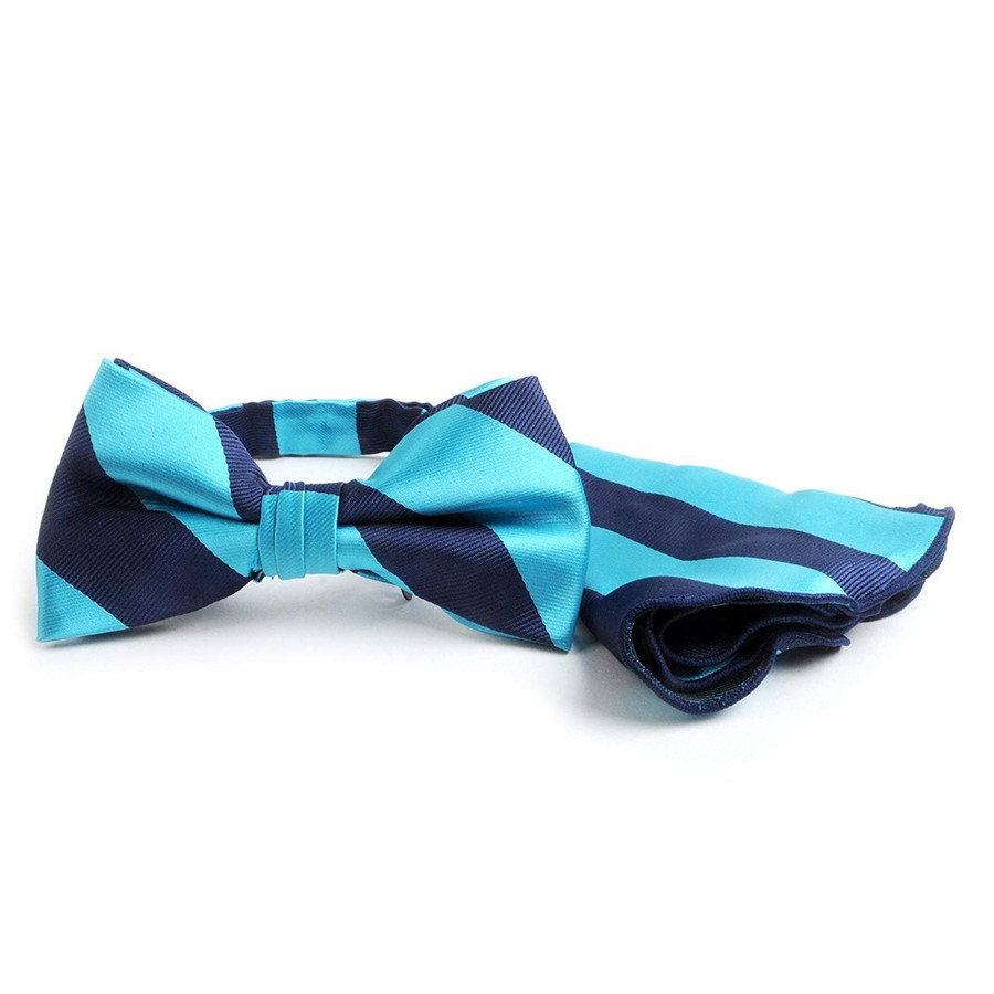 Awning Stripe Banded Bow Tie & Matching Pocket Round Set